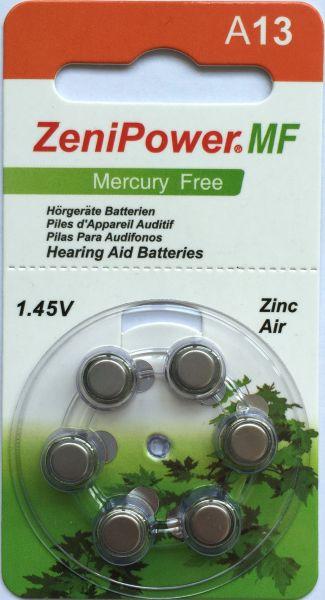 Hörgerätebatterien ZeniPower 13DS Platinum (PR48/ PR754) - Blister à 6 Zink-Luft Knopfzellen