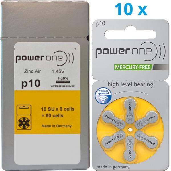 Hörgerätebatterien Power One P 10 (0% Quecksilber) Vorteilspack