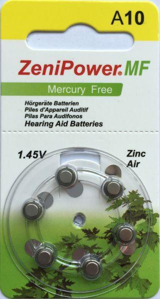 Hörgerätebatterien ZeniPower A10 MF Hg0% (PR70/ PR536) - Blister à 6 Zink-Luft Knopfzellen