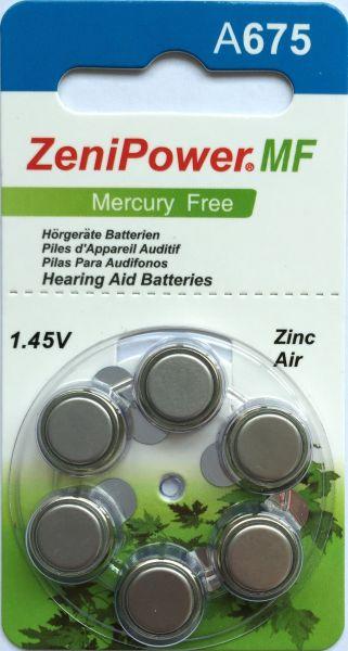 Hörgerätebatterien ZeniPower 675DS Platinum (PR44/ PR1154) - Blister à 6 Zink-Luft Knopfzellen