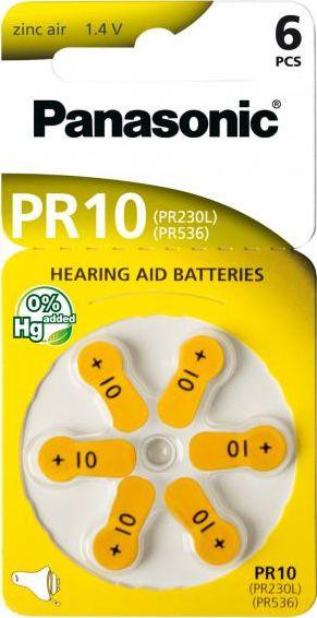 Hörgerätebatterien Panasonic PR10 - Blister à 6 Knopfzellen